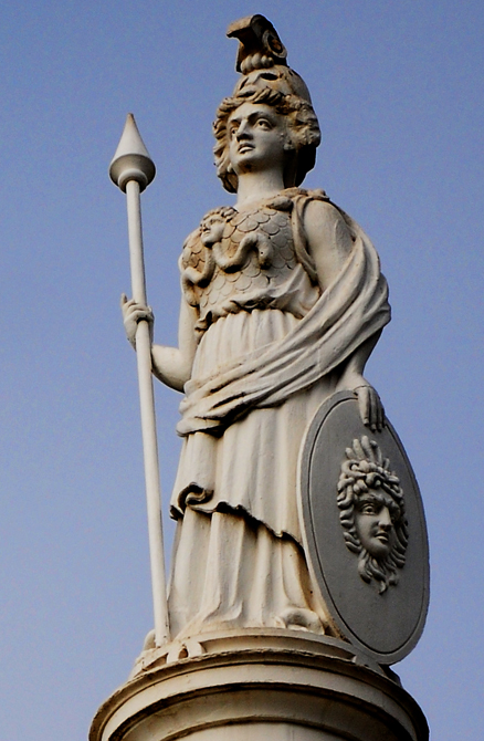 Minerva, the Roman Goddess of Wisdom stands atop the old courthouse in Merced. Photo by Charles Guest of memorable Places Photography